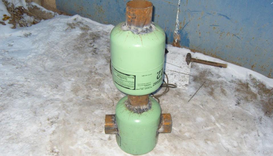 Фото печь на отработке из газового баллона